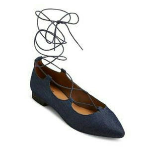 Mossimo Pointed Toe, Lace-Up, Ballet Flats - Blue